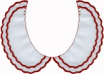 White with Double Red Scalloped Edge Collar Set L/R - 3 SizesWhite with Double Red Scalloped Edge Collar Set L/R - 3 Sizes