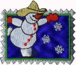 2 1/4'' by 2'' Iron On Skating Snowman Applique2 1/4'' by 2'' Iron On Skating Snowman Applique