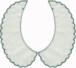 7 1/4'' by 3 1/2'' Ivory with Dark Green Scalloped Edge7 1/4'' by 3 1/2'' Ivory with Dark Green Scalloped Edge