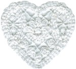 3'' by 2 3/4'' White Cotton Heart Applique3'' by 2 3/4'' White Cotton Heart Applique