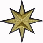3 1/2'' - 8.9 cm Gold Metallic Star Iron On Applique with Navy Blue Outline3 1/2'' - 8.9 cm Gold Metallic Star Iron On Applique with Navy Blue Outline