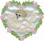 3'' by 2 3/4'' White Satin Iron On Heart  Applique - Pink/Green3'' by 2 3/4'' White Satin Iron On Heart  Applique - Pink/Green