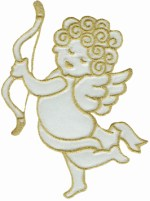 3 3/8'' by 4 7/8'' Cherub Gold/White Applique3 3/8'' by 4 7/8'' Cherub Gold/White Applique
