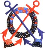 2 3/4'' by 2 7/8'' Red/Blue Sequin Anchor Applique2 3/4'' by 2 7/8'' Red/Blue Sequin Anchor Applique