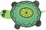 3'' by 2 3/4'' Iron On Turtle Applique- Green, Blue3'' by 2 3/4'' Iron On Turtle Applique- Green, Blue