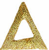 1'' by 1'' by 7/8'' Metallic Gold Triangle Applique1'' by 1'' by 7/8'' Metallic Gold Triangle Applique