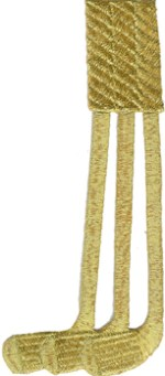 2 1/8'' by 4 7/8'' Iron On Metallic Gold Golf Clubs Applique2 1/8'' by 4 7/8'' Iron On Metallic Gold Golf Clubs Applique