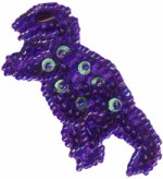 2 1/2'' by 1 1/4'' Beaded & Sequined Purple Dinosaur Applique2 1/2'' by 1 1/4'' Beaded & Sequined Purple Dinosaur Applique