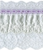4 5/8'' White Lace with Lavender Satin Ribbon Trim4 5/8'' White Lace with Lavender Satin Ribbon Trim