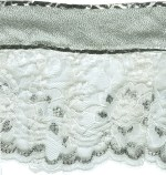 5 1/2'' White/Silver Gathered Lace with Silver Top5 1/2'' White/Silver Gathered Lace with Silver Top
