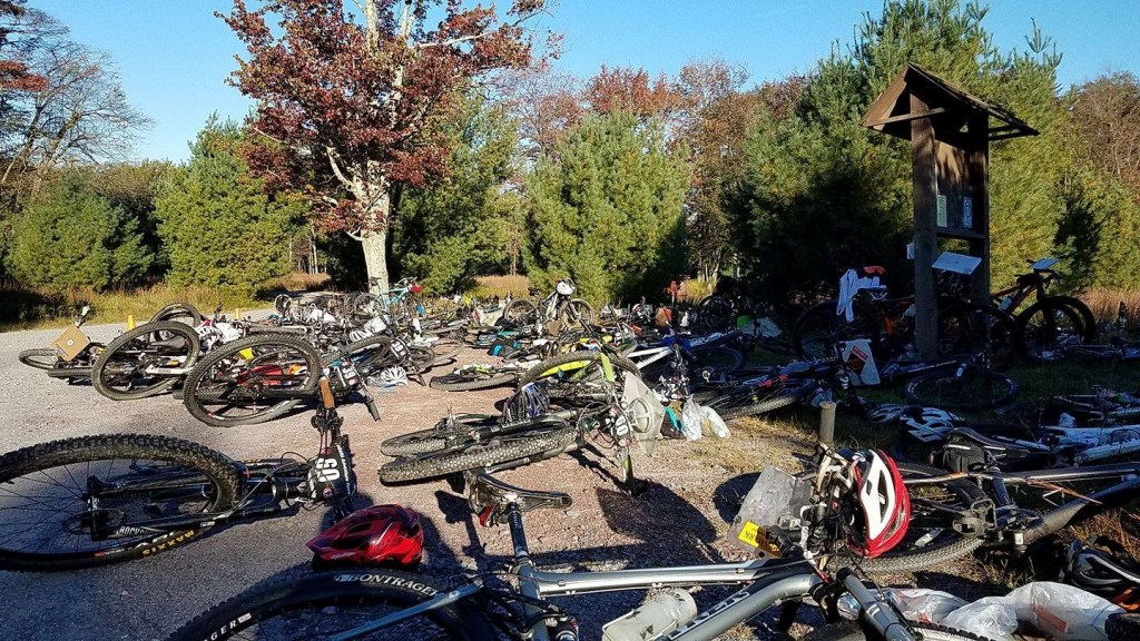 This was transition area 2, where the bikes got to rest while we ran through the night. We could leave some of our extra gear behind with our bikes to save some weight on the run too, which was nice.