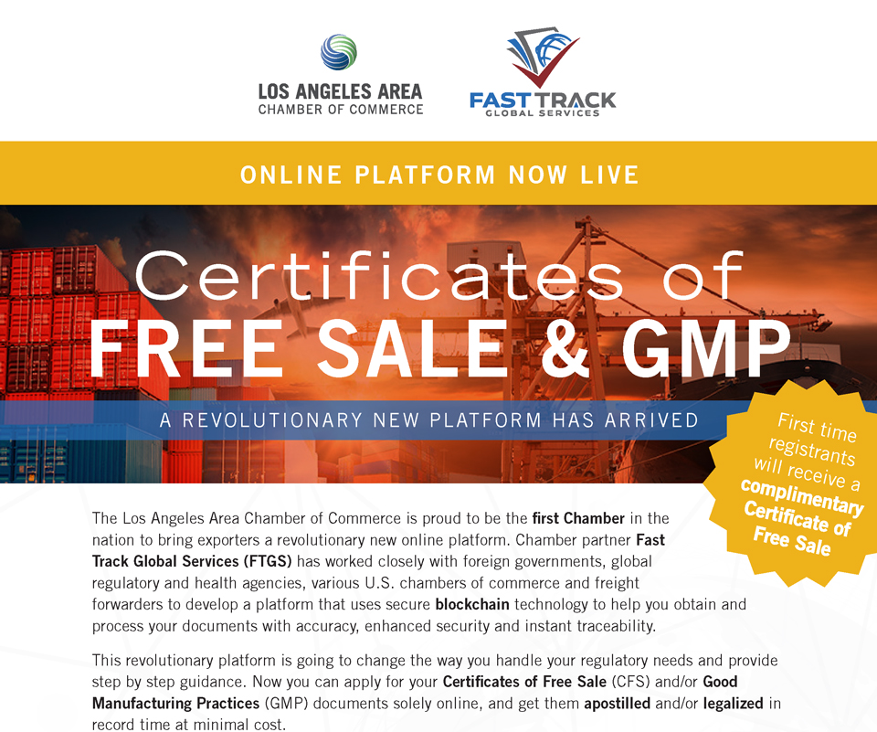 Los Angeles Area Chamber of Commerce - Certificates of Free Sale