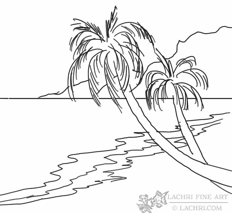 line-drawing-beach-and-palm - Lachri Fine Art - line drawing
