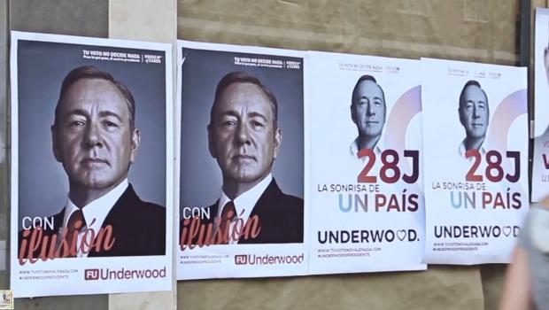 """Una acción de guerrilla de """"House of Cards"""" llena Madrid de carteles con Underwood como presidente"""