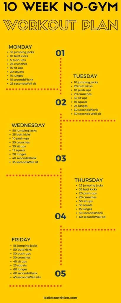 Burn Fat Guaranteed - 10 Week No-Gym Home Workout Plan - weekly workout plan