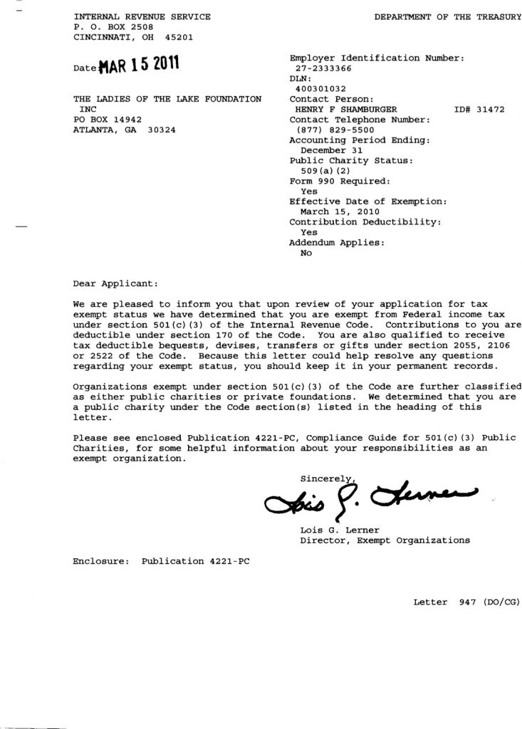 Federal ID Letter (IRS) - Ladies of the Lake