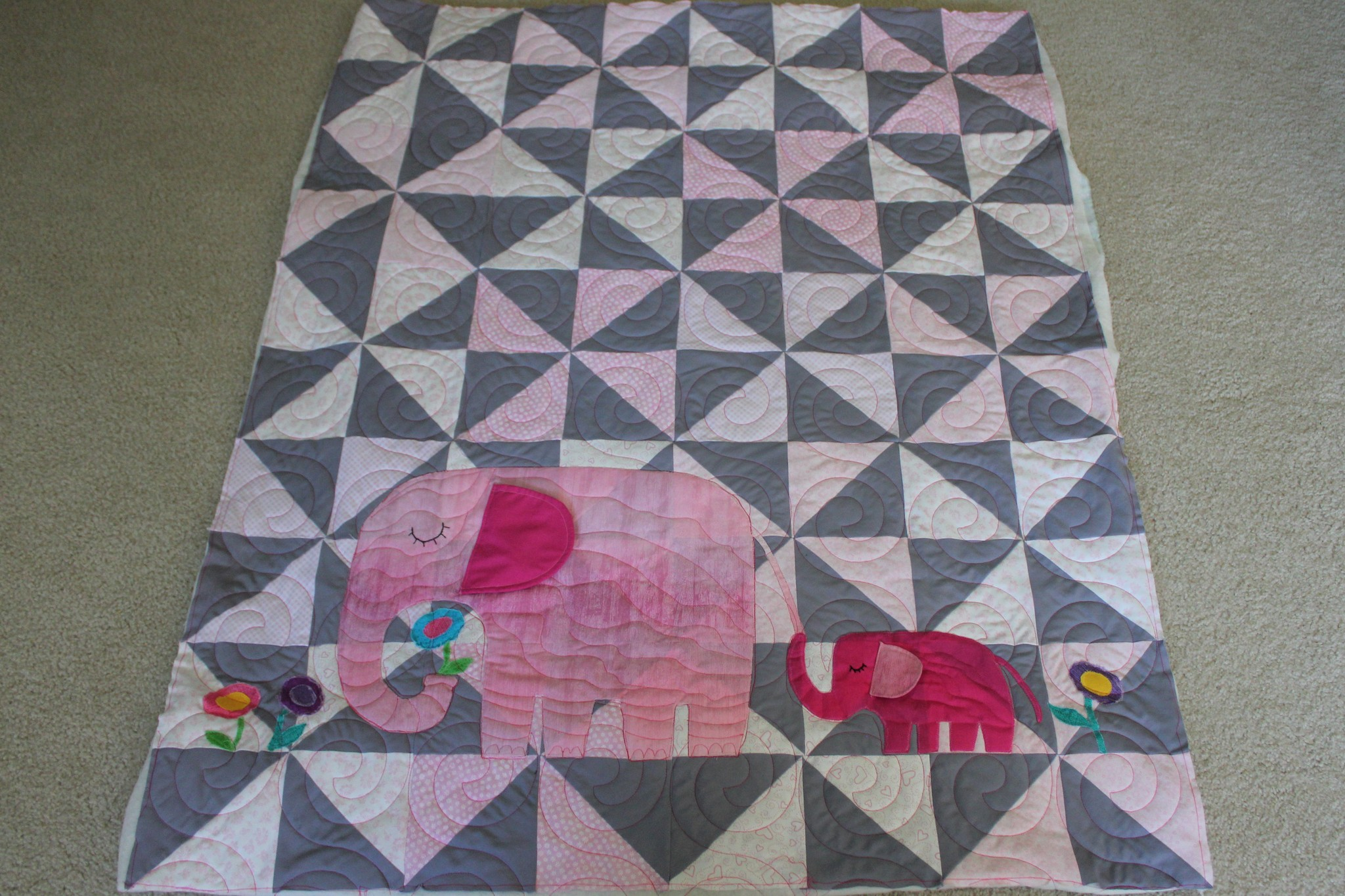 Baby Quilts.com E Is For Elephant Baby Quilt Lady Bird Quilts