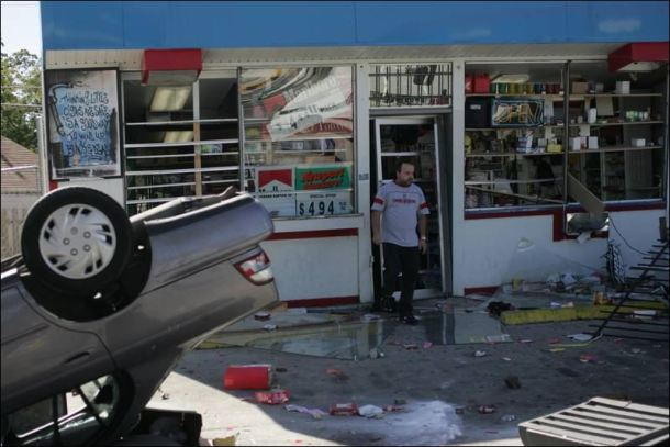By the time he came out with his coffee - I had destroyed the gas station and flipped his car out of the way.....