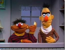 Here Ernie spends the day pretending that he cannot hear Bert speaking because he stuck a piece of fruit in his ear.  This is not a good lesson for children.