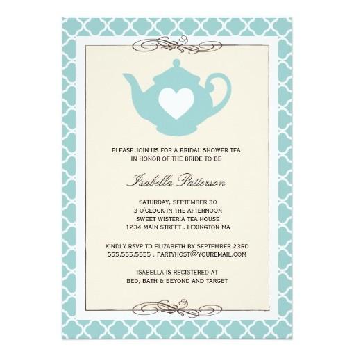 Tan \ Teal Teapot Bridal Shower Tea Party Invitation Card - tea party invitation