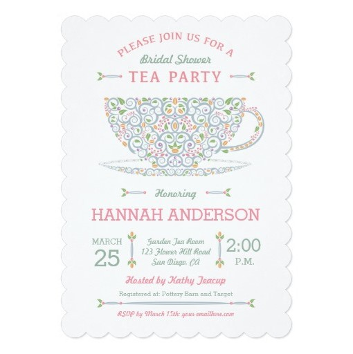 Teacup Bridal Shower Tea Party Invitation Ii Invitation Card - tea party invitation