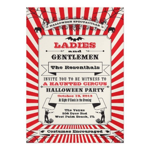 Circus Halloween Party Invitation Card - circus party invitation
