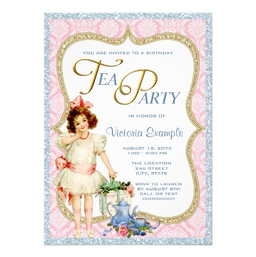 Girls Vintage Tea Party Invitation Card - LadyPrints - tea party invitation