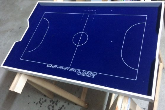 Almost ready: Our 5-a-side Subbuteo pitch, stil without the two metal goals that where included in the set.