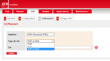 L'interface de configuration d'un routeur fibre SFR