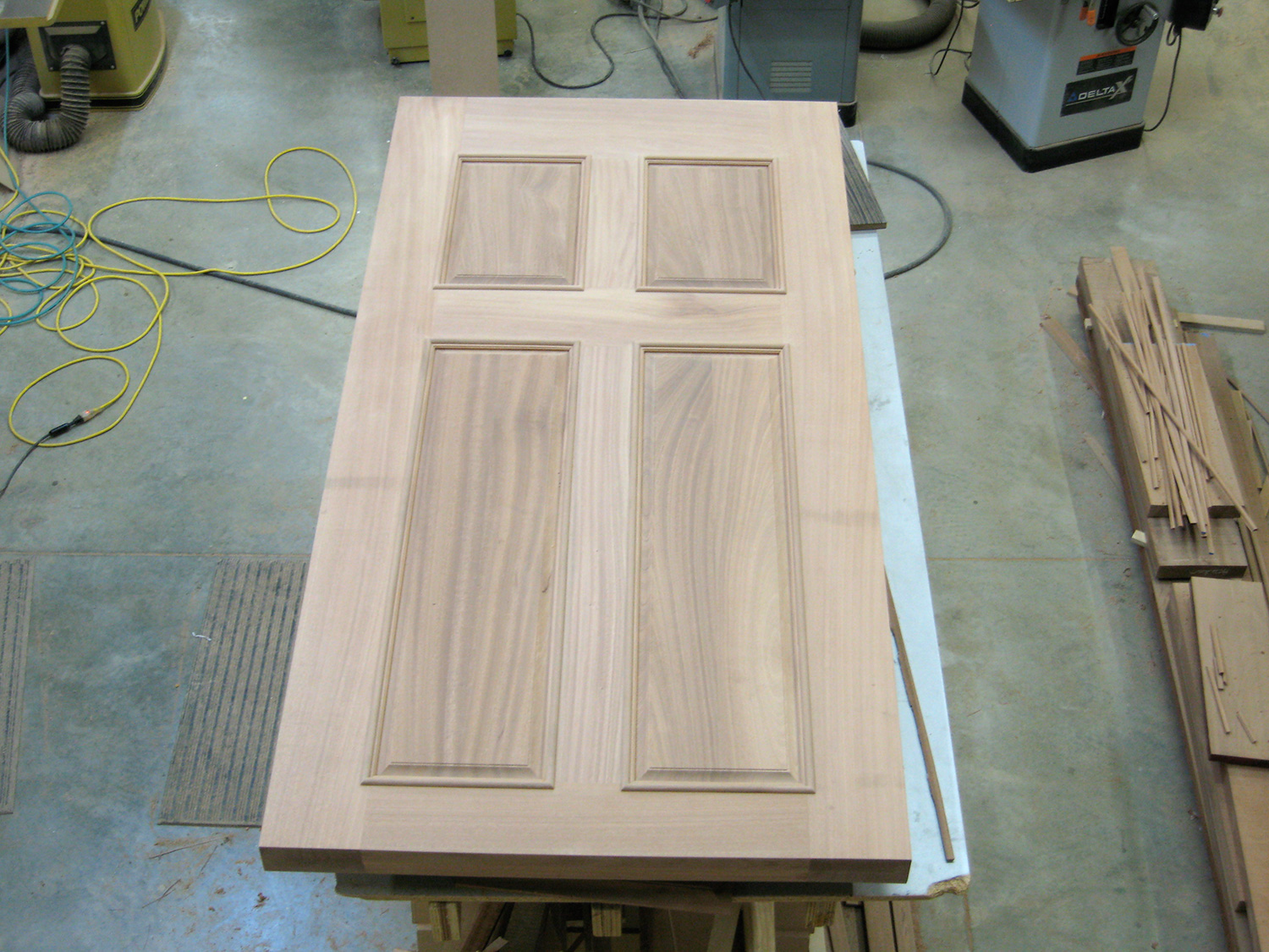 "3 1/2"" thick custom front door out of mahogany. Gallatin, NY."
