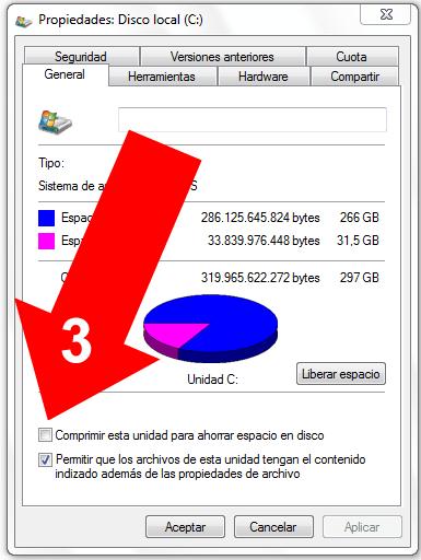 Comprimir un disco en Windows 7 (3)