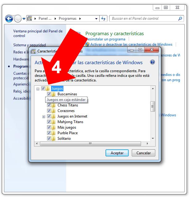 Activar juegos en Windows 7
