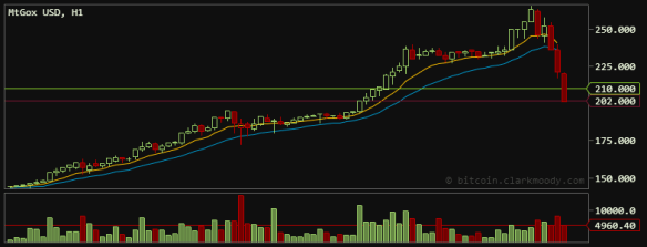 MtGox Bitcoin Trading falls %25 to $202 on April 10, 2013