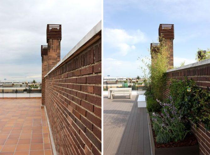 Jardín en terraza antes y después