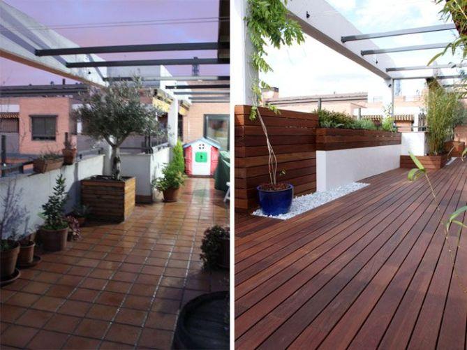 Jardín terraza antes y después
