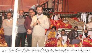 business forum lahore president Khalid Usman at YDA hunger strike camp