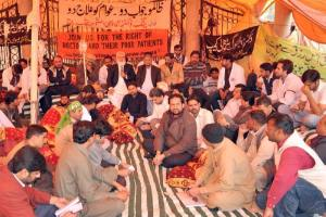 liaqat baloch at the camp of the young doctors on sitike