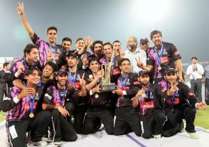 Faisalabad wolves winner of Faysal Bank T-20 super 8 tournament  posing with the trophy