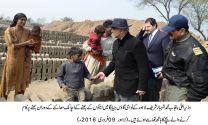 Shahbaz Sharif visits a brick kiln at village Jiya Bagga