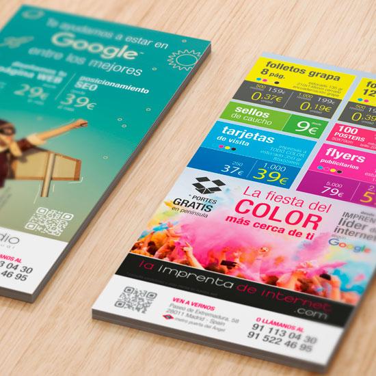 Impresión de FLYERS Publicitarios baratos en Madrid Envío gratis