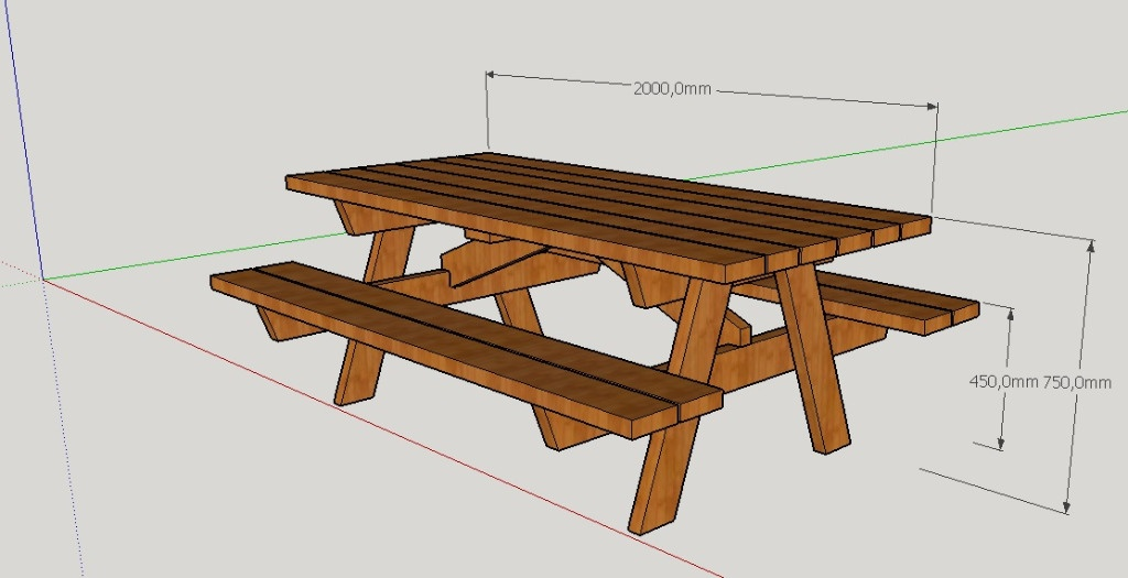 Table Jardin Octogonale [plan] Table De Pique-nique Par Peiot Sur L'air Du Bois