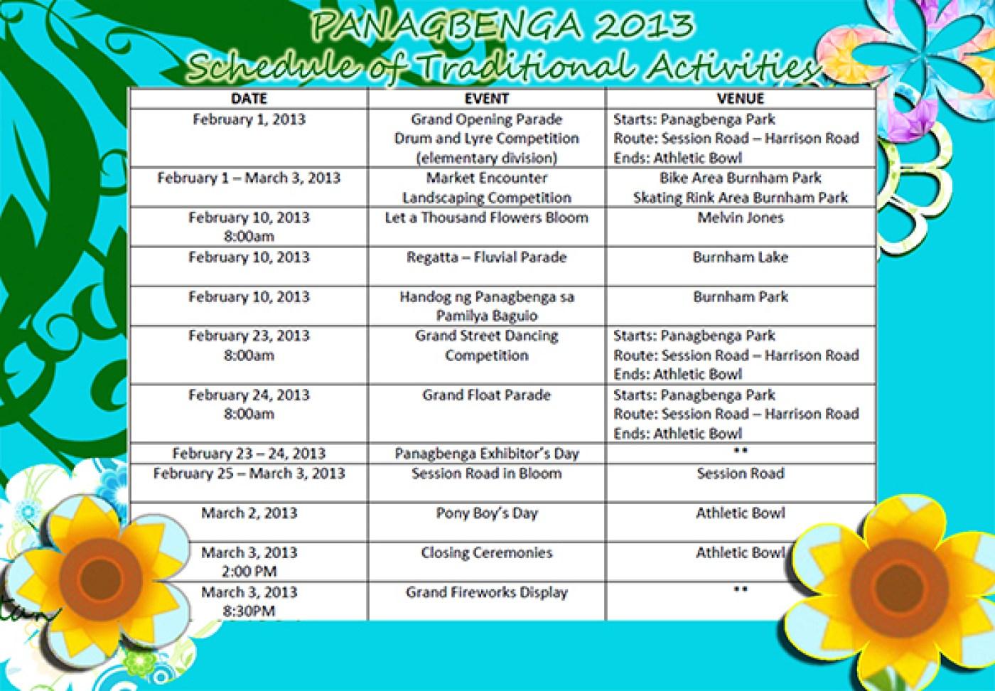 Panagbenga-2013-Schedule