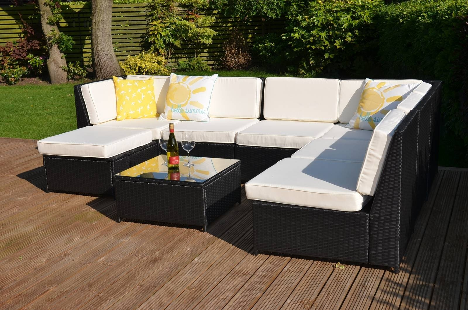 Lamanga 7 Seater Garden Rattan Corner Sofa Set With Table Grey