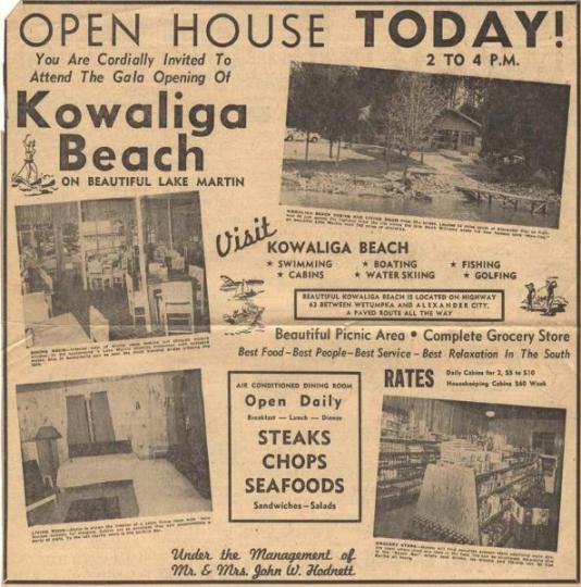 old kowaliga ad for opening of kowaliga beach lake martin