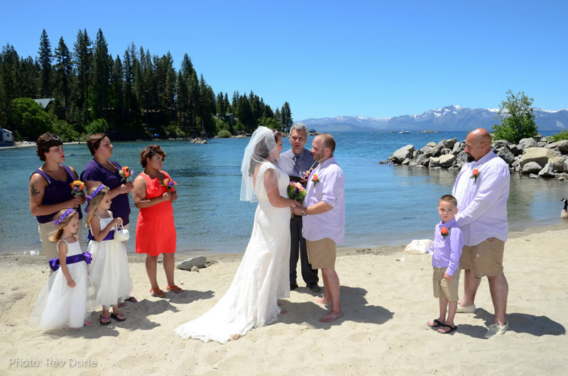 beach wedding on Lake Tahoe