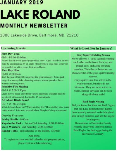 January 2019 Lake Roland Monthly Newsletter