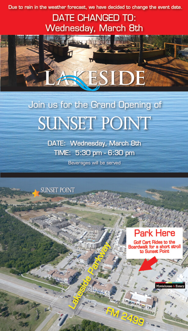 Lakeside Movie House Sunset Point Grand Opening Set For Wednesday 5 30 6 30