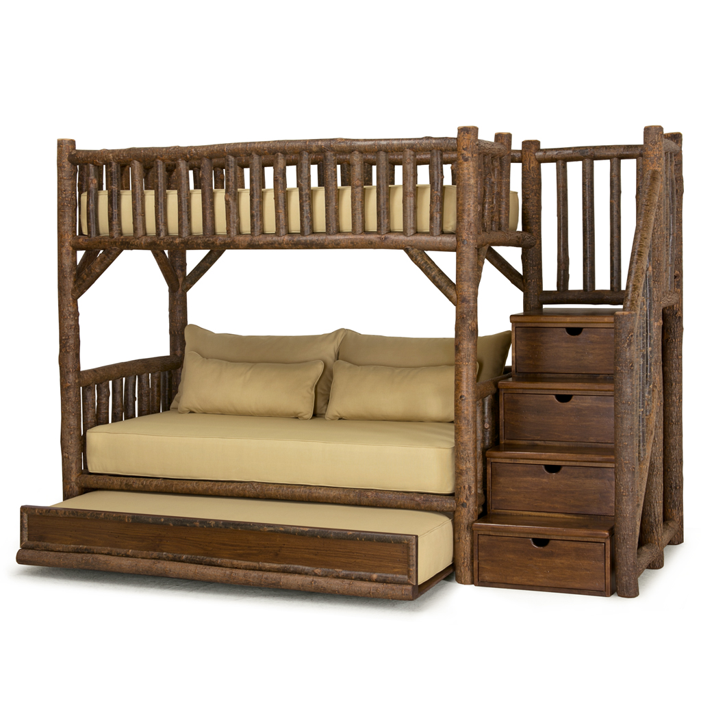 Bed Bunk Rustic Bunk Bed With Trundle And Stairs La Lune Collection
