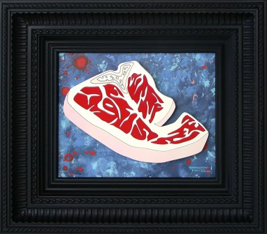 9.5 x 7.5 in. / 13.75 x 15.5 in. frame, Acrylic on cut and shaped masonite $350.00 Sold