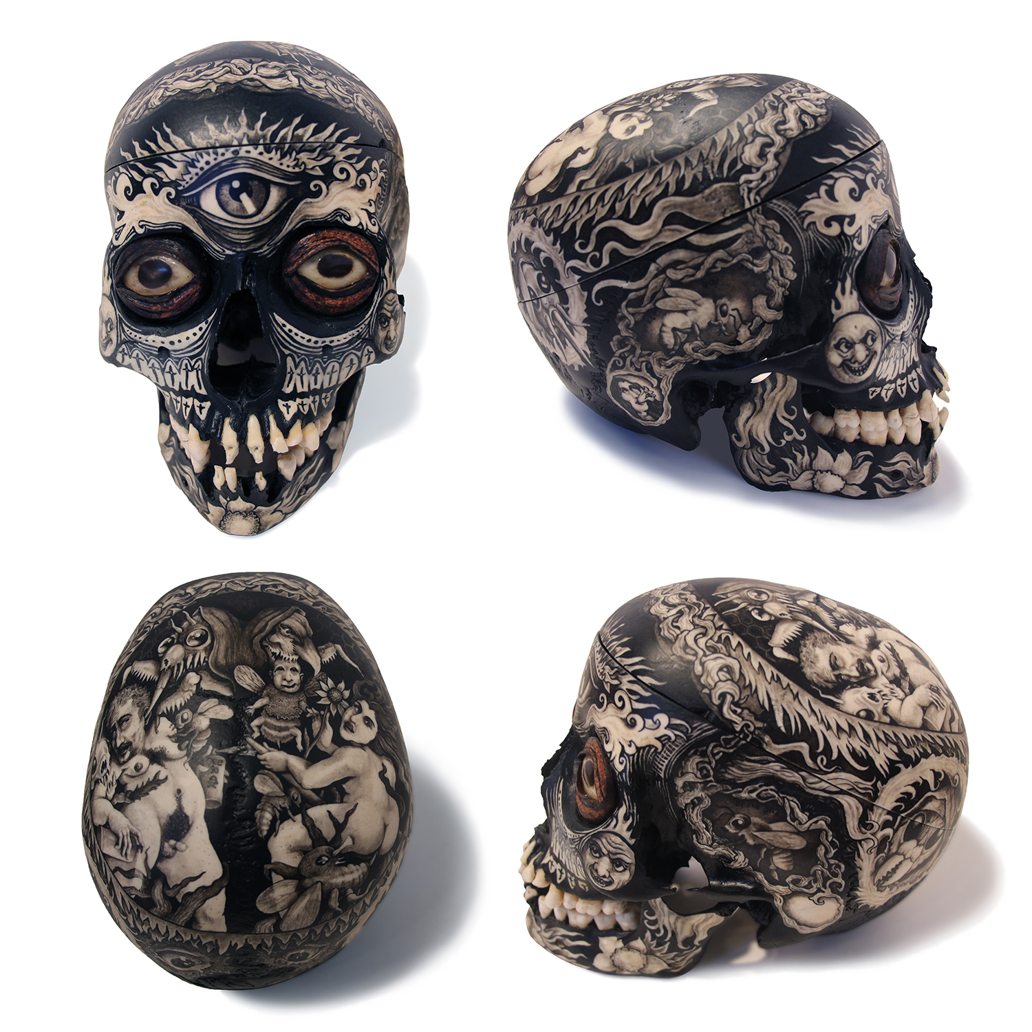 Brushed ink & pyrography on real human skull with hand tooled interior & taxidermied eyes, 9 x 6 x 7 in. $3,000.00 Sold